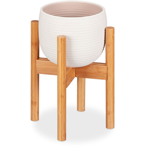 Relaxdays Bamboo Plant Stand, Adjustable, Flower Pots max. 32 cm, Pot Support, H: 35.5 cm, Natural