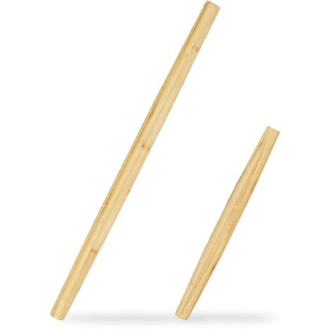 Relaxdays Bamboo Rolling Pin Set of 2, Kitchen Utensils, Rollers in 2 Sizes, Conical Shape, 65 & 40 cm, Natural