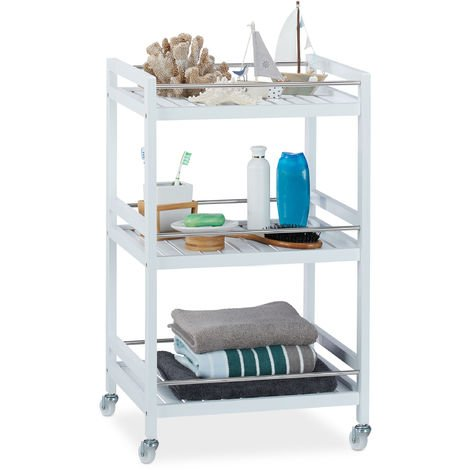 Relaxdays Bamboo Serving Cart, 3 Tiers, 360° Casters, Stainless Steel Rails, Kitchen Trolley, HWD: 76.5x46x38 cm, White