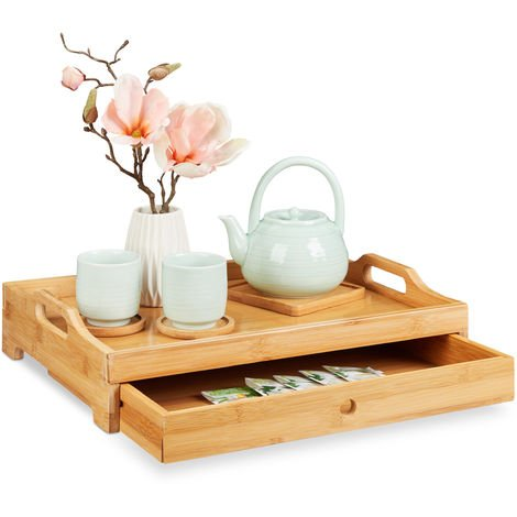 Relaxdays Bamboo Serving Tray, Removable Drawer, Breakfast Platter with Handles, H x W x D: 10 x 43 x 31 cm, Natural