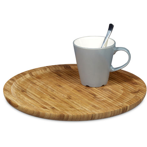 Relaxdays Bamboo Serving Tray Round Diameter 33 cm Bamboo Plate for Serving Cheese Meat Pastries Snacks, etc. Wooden Platter Decorative Plate Tray, Natural Brown