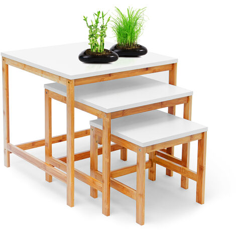 Relaxdays BAMBOO Set of 3 Side Tables Nest of Three Tables Wooden Tables of Varying Size, 50, 40 & 30 cm, Couch Table Coffee Table Scandinavian Style, Natural