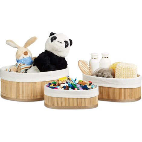 Relaxdays Bamboo Set of Shelf Baskets, 12.5 x 32 x 22 cm, Oval, 3 Storage Bins, for Closets and Shelves, Brown