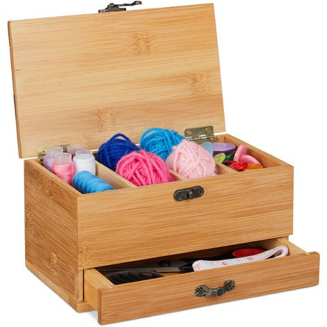 Relaxdays Bamboo Sewing Box, 4 Compartments & Drawer, Lidded, Antique Handle Look, Empty, Natural