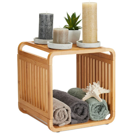 Relaxdays Bamboo Shelf, Rounded Slim Bathroom Rack with Tiers, Square, HWD: 33x33x33 cm, Natural