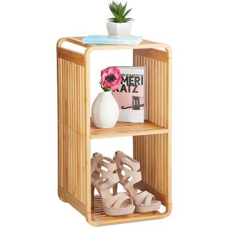 Relaxdays Bamboo Shelf, Rounded Slim Bathroom Rack with Tiers, Square, HWD: 64.7x33x33 cm, Natural