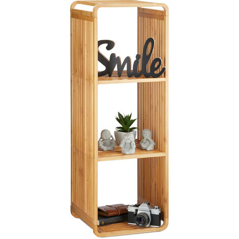 Relaxdays Bamboo Shelf, Rounded Slim Bathroom Rack with Tiers, Square, HWD: 96x33x33 cm, Natural