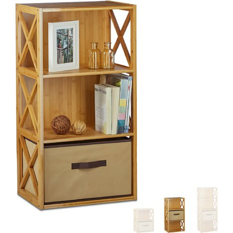 """main image of """"Relaxdays Bamboo Shelf with Basket, 3 Tiers, Wooden Freestanding Bathroom Rack, Folding Drawer Box, HxWxD: 80 x 42 x 29 cm, Natural Brown"""""""