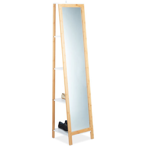 Relaxdays Bamboo Shelf with Full-Body Cheval Mirror, 4 Compartments, Sturdy Rack, Natural Look, HWD: 170x40x35.5 cm, Natural