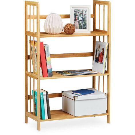 Relaxdays Bamboo Shelving Unit, Wood, 3 Tiers, HxWxD: 88 x 55 x 26 cm, Bathroom Shelf, Shoe Rack, Storage Unit, Natural Brown