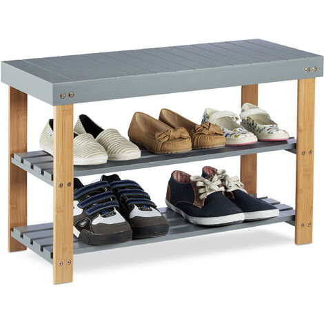 Relaxdays Bamboo Shoe Bench, 2-Tier, Overt, Shoe Storage Rack, Seating, Natural Grain, HWD: 45x70x28.5 cm, Grey