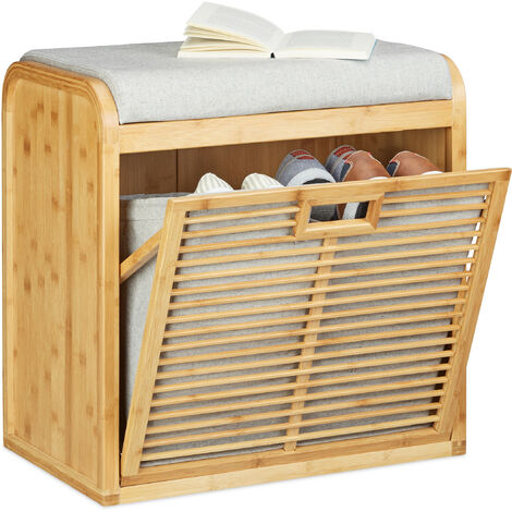 Relaxdays Bamboo Shoe Storage Bench, Comfy Padded Bench, 8-Pair Shoe Cabinet, HWD: 53 x 51 x 34 cm, Natural