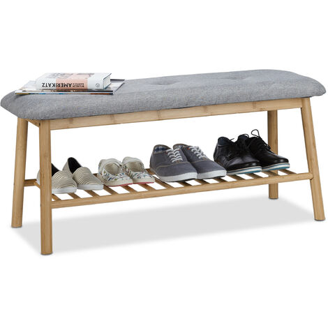 Relaxdays Bamboo Shoe Storage Bench for 4 Pairs, Padded Bench for 2, Comfy Shoe Rack, Natural-Grey