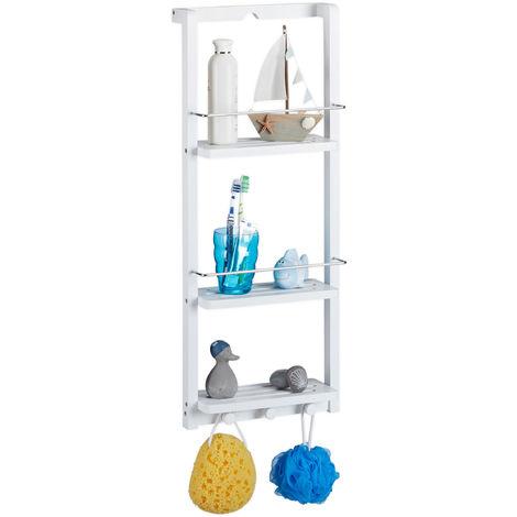 Relaxdays Bamboo Shower Caddy, 3 Tiers, Hook Bar, Hanging, No Drilling, Bathroom Shelf, HWD: 70x28.5x10.5 cm, White