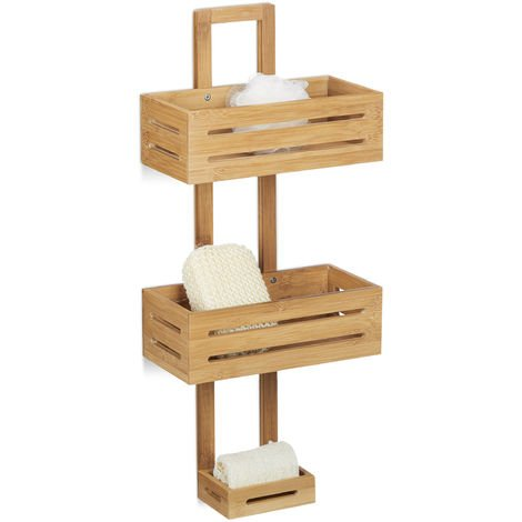 Relaxdays Bamboo Shower Caddy Size: 65 x 28 x 15.5 cm Shower Shelf Wooden Hanging Shower Rack with 3 Shelves Shower Baskets for Hanging in the Bathroom Rust-Proof Bath Caddy, Natural Brown
