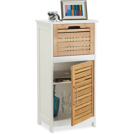 Relaxdays Bamboo Side Cabinet, Half-Height Bathroom Cupboard with Drawer, HWD: 83 x 40 x 30 cm, Hallway and Living Room, White