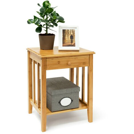 Relaxdays Bamboo Side Table with Drawer: 51.5 x 40.5 x 30.5 cm Night Stand End Table Small Sturdy Night Table with Addional Bottom Shelf, Wooden Coffee Table, Natural