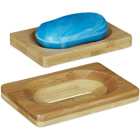 Relaxdays Bamboo Soap Dish Set of 2, Drip Tray, Non-Slip, Moisture-Resistant Bathroom Soap Holder, Natural