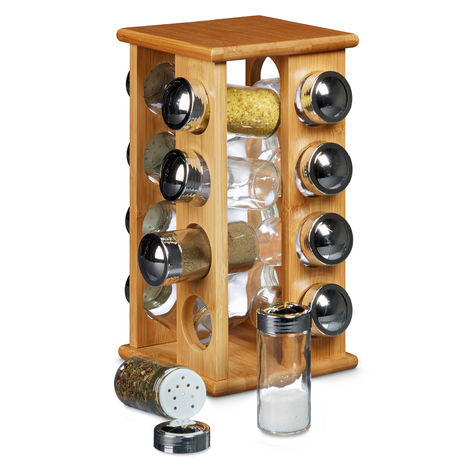 Relaxdays Bamboo Spice Rack with 16 Spice Jars Size: 30 x 19.5 x 19.5 cm Freestanding Wooden Spice Shelf with Spices Holders Spice Carousel made of Wood with Spice Grinder Built-In, Natural Brown