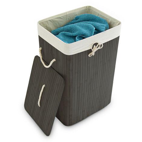 Relaxdays Bamboo Square Laundry Hamper, 65.5 x 43.5 x 33.5 cm, Folding Laundry Basket, 83L, Rectangular, Black