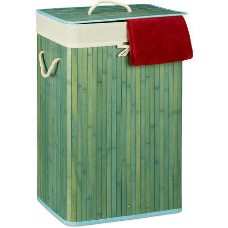 Relaxdays Bamboo Square Laundry Hamper, 65.5 x 43.5 x 33.5 cm, Folding Laundry Basket, 83L, Rectangular, Blue
