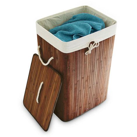 Relaxdays Bamboo Square Laundry Hamper, 65.5 x 43.5 x 33.5 cm, Folding Laundry Basket, 83L, Rectangular, Brown