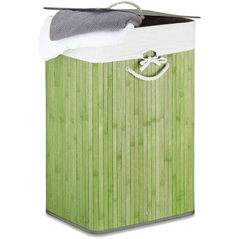 Relaxdays Bamboo Square Laundry Hamper, 65.5 x 43.5 x 33.5 cm, Folding Laundry Basket, 83L, Rectangular, Green