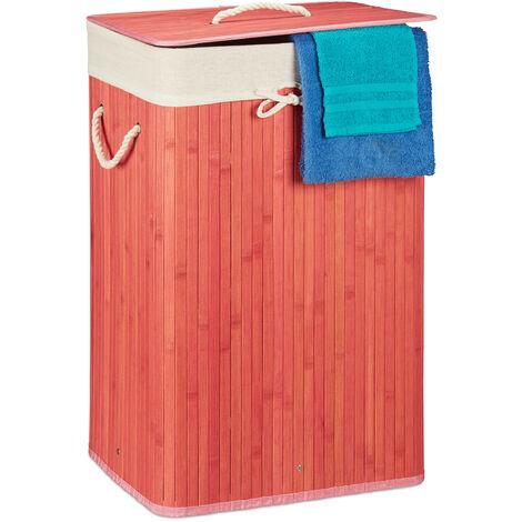 Relaxdays Bamboo Square Laundry Hamper, 65.5 x 43.5 x 33.5 cm, Folding Laundry Basket, 83L, Rectangular, Pink