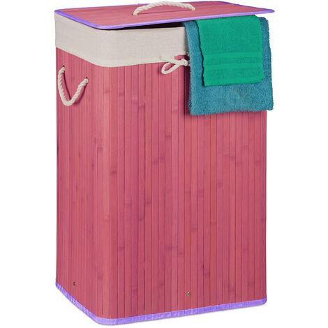 Relaxdays Bamboo Square Laundry Hamper, 65.5 x 43.5 x 33.5 cm, Folding Laundry Basket, 83L, Rectangular, Violet
