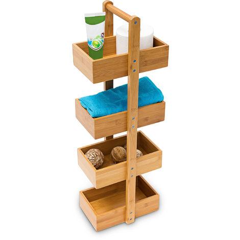 Relaxdays Bamboo Standing Shelf (75 x 25 x 18 cm) 4 Shelves, Bathroom Shelf Unit with 4 Basket Shelves Shower Caddy