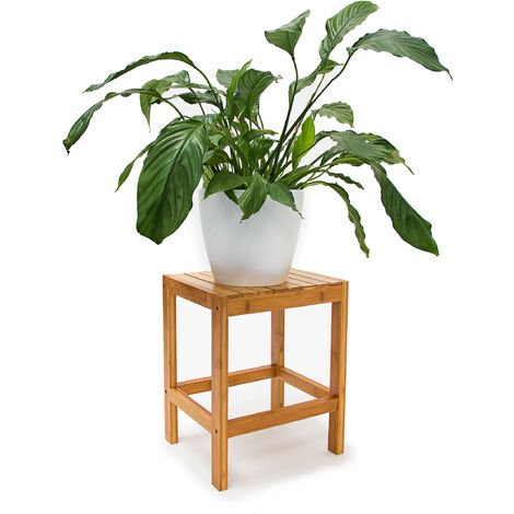 Relaxdays Bamboo Stool, 40x28x32 cm Sitting Stool Flower Holder Wooden Side Table Bamboo Seat Stool