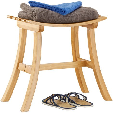 Relaxdays Bamboo Stool, Elegantly Curved Footstool, Wooden Chair, HxWxD: 48 x 56 x 28.5 cm, Natural