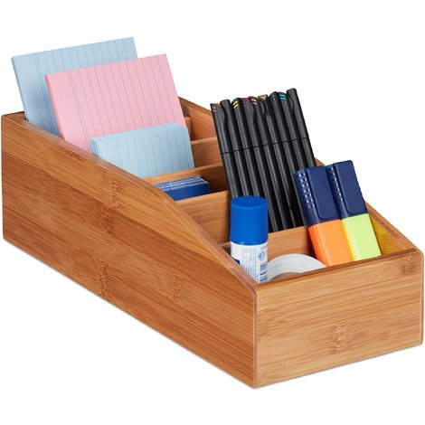 Relaxdays Bamboo Storage Box, 6 Compartments, Universal Office, Bathroom or Kitchen Organiser, HxWxD: 10x14x35cm, Natural