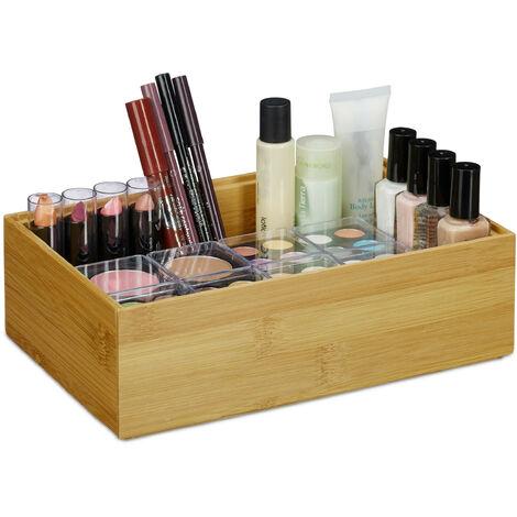 Relaxdays Bamboo Storage Box, Stackable, Natural Look, Kitchen Organiser Bins, Bathroom, HxWxD: 7 x 23 x 15 cm, Natural