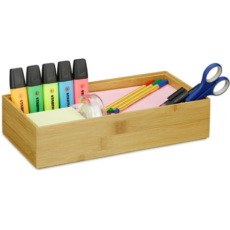 Relaxdays Bamboo Storage Box, Stackable, Natural Look, Kitchen Organiser Bins, Bathroom, HxWxD: 7 x 30 x 15 cm, Natural