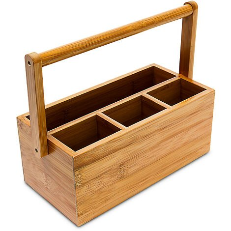 Relaxdays Bamboo Table or Desk Organiser, HxWxD: 20 x 25 x 11.5 cm, with 4 Compartments, Pen or Pencil Holder, with Handle, Natural Brown