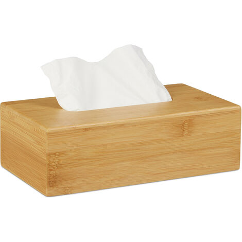 Relaxdays Bamboo Tissue Box Cover, HWD: 8.5 x 27.5 x 15.5 cm, Dispenser for Regular and Facial Tissues, Natural