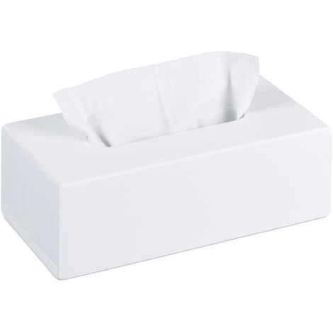 Relaxdays Bamboo Tissue Box, Paper Tissue Box Cover with Sliding Floor, Wooden Dispenser Case, HWD: 7.5 x 24 x 12 cm, White