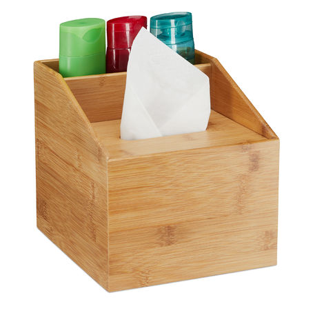 Relaxdays Bamboo Tissue Dispenser, Modern Design, 2 Compartments, Box With Lid, Organiser, HxWxD: 20x19.5x22 cm, Natural