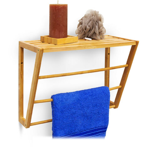Relaxdays Bamboo Towel Holder With Shelf Storage 30 x 42 x 20 cm Wall Mounted Bathroom Towel Holder with 3 Rails Small Bathroom Shelf Bamboo Shelf with Towel Rail, Natural