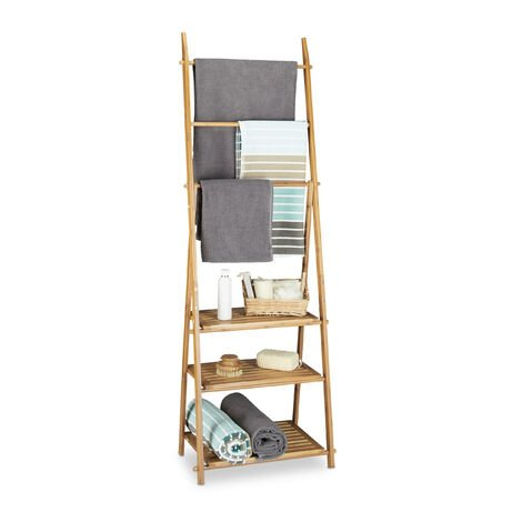Relaxdays Bamboo Towel Rack, Folding, Small Clothes Stand, 3 Shelves 3 Towel Rails, 4 Side Hooks, Size: ca 152 x 53 x 31 cm, Wood, Natural Brown