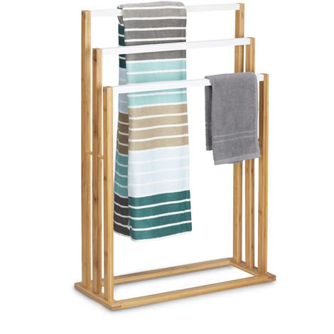 Relaxdays Bamboo Towel Stand Size: approx 82 x 54 x 24 cm Ascending Rails Towel Holder w/ 3 Rails as Elegant Bathroom Accessory Freestanding Towel Rack for Bath and Hand Towels in Natural Style, Brown