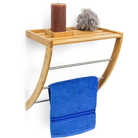 Relaxdays Bamboo Wall-Mount Towel Holder with 3Rails Chrome-Plated Metal 40x 38x 24.5cm Moisture-Resistant Wood Bathroom Shelf with Towel Rack, Natural
