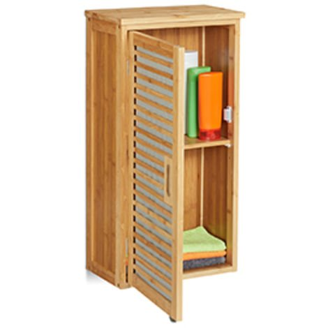 Relaxdays Bamboo Wall-Mounted Bathroom Cabinet, 2 Shelves, Height-Adjustable, H x W x D: 66 x 35 x 20 cm, Natural