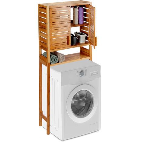 Relaxdays Bamboo Washer Storage Rack, Freestanding Bathroom Shelf, Slatted Doors, 3 Tiers, HWD 164 x 66 x 26 cm, Natural
