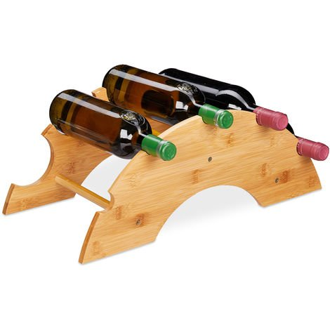 Relaxdays Bamboo Wine Rack, 5 Bottles Capacity, Arch-Shape, Table Stand, H x W x D 18 x 48 x 24 cm, Natural