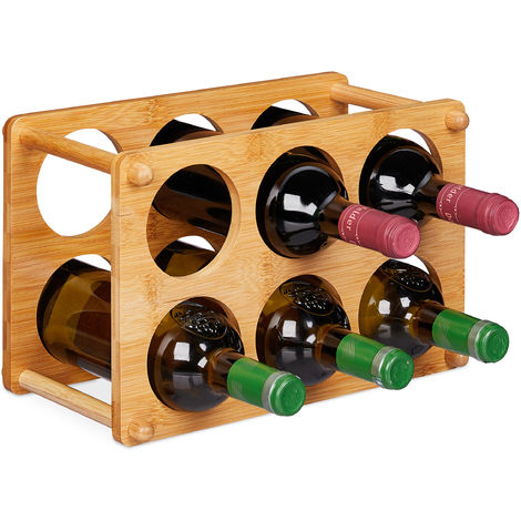 Relaxdays Bamboo Wine Rack, 6 Bottles Capacity, Arch-Shape, Table Stand, H x W x D 21 x 32 x 18.5 cm, Natural