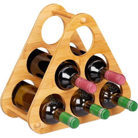 Relaxdays Bamboo Wine Rack, 6 Bottles Capacity, Pyramid, Table Stand, H x W x D 31 x 34.5 x 19 cm, Natural