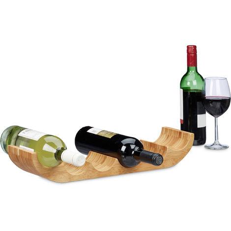 Relaxdays Bamboo Wine Rack, Bottle Holder for 6 Standard Bottles, Original Design, Horizontal Orientation, Size: ca 8 x 47.5 x 11.5 cm, Natural