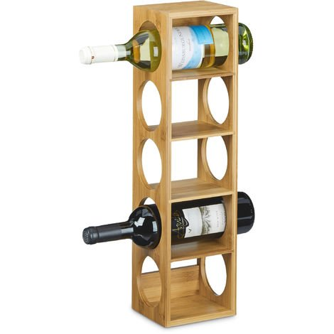 Relaxdays Bamboo Wine Rack Size 53 x 14 x 12 cm, Bottle Holder with 5 Levels for Wine Bottles, Modern Bottle Storage Wine Holder for Horizontal Hold, Stackable, Natural Brown